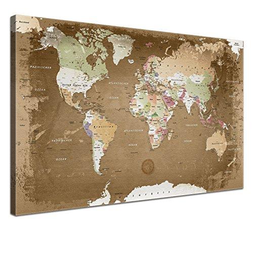 """LANA KK - Weltkarte Leinwandbild mit Korkrückwand zum pinnen der Reiseziele – """"Weltkarte Oldstyle"""" - deutsch - Kunstdruck-Pinnwand Globus in braun, in 120x80cm"""