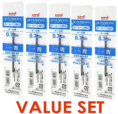 Uni-ball Jetstream Fine Point Roller Ball Pens Refills for Multi Pen Type-0.7mm-blue Ink-value Set of 5