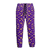 Men's Big and Tall Joggers Sweatpants Royal Crowns - Gold On Purple Sweatpants with Side Pockets