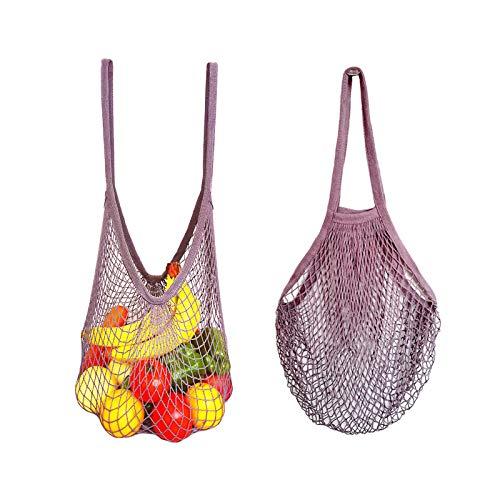AUHOTA 2 Stück Extra groß Baumwolle Netz Einkaufstasche mit Langer Griff, Brauch Übergröße Einkaufsnetz Einkaufen Tote Tasche für Obst Gemüse Lebensmittel - Robust & Umweltfreundlich (Lila)