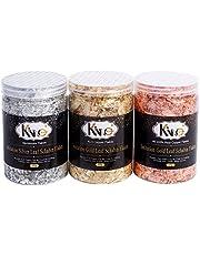 KINNO Vergulden Vlokken - Kleur 2,5 Imitatie Goud, Zilver, Kleur 0 Echt Koper, 3 Flessen Metallic Folievlokken Voor Schilderkunst en Ambachten, Nail Art