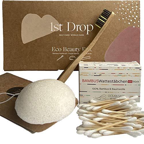 Bambus und BIO Baumwolle Wattestäbchen - 100% Biologisch Abbaubar - 2x100 - Vegan, Bio & Nachhaltig, Plastikfrei ZERO WASTE Produkte, q-tips, qtips bambus, wooden cotton bud, ohrstäbchen ohne plastik