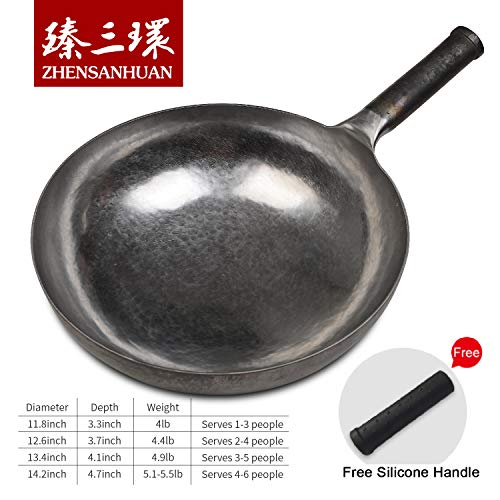 Product Image 8: ZhenSanHuan Chinese Hand Hammered Iron Woks and Stir Fry Pans, Non-stick, No Coating, Less Oil, 章丘铁锅,舌尖上的中国,A bite of China (Not Seasoned 32CM)