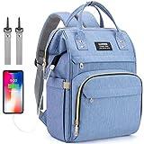 Mochila cambiador para bebé, con puerto de carga USB, mochila para pañales con...