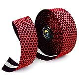 TOPCABIN 自転車バーテープ ロードバイクバーテープ PU/シリコーン エンドプラグ付き 2本セット (レッド-シリコーン)