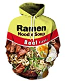 Unisex Hoodie Pockets 3D Pullover Men Hooded Sweatshirts Noodle Ramen Hoodies Women Shirt (o1,L