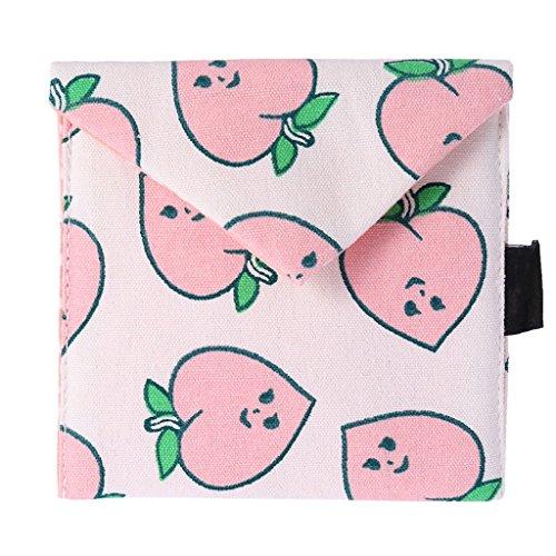 KUOZEN pequeñas Carteras de Cerco Bolsa de Lona Cambio Monedero de Felpa de Fruta Simple, Monedero de la Moneda Monedero con Cremallera Pink Peach