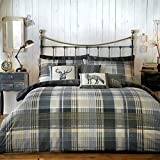 Dreams 'n' Drapes, Connolly Check, Set di Copripiumino Matrimoniale e 2 federe per cuscino, Grigio (anthrazit), Letto Super King Size