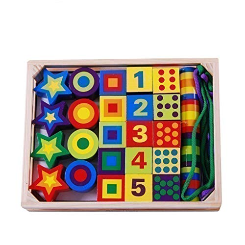 Great Price! BJLWTQ Children's Wooden Lacing Beads Toy - Building Blocks Digital Geometric Shapen Co...