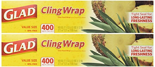 Glad Cling Plastic Wrap, 400 Square Foot Roll, 400 Sq Ft (Pack of 2)