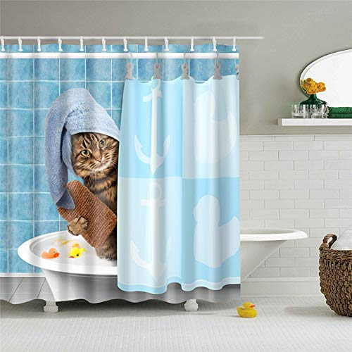 XCBN Beach Hammock Palm Tree Seaside Scenery Bathroom Decoration Bath Curtains Waterproof Shower Curtains A4 180x180cm