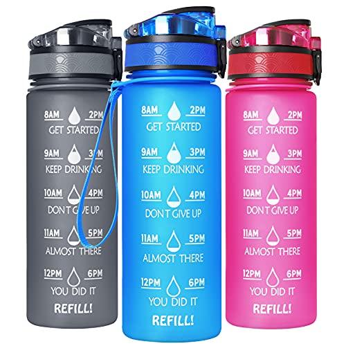 GeeRic Trinkflasche Sport Wasserflasche 750ML BPA-freies Kohlensäure geeignet Wasserflasche für Uni, Sport, Fitness, Fahrrad, Outdoor