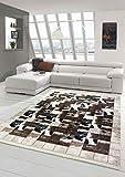 Merinos Kuhfell Imitat Teppich Patchwork Print Teppich in Braun Schwarz Creme Größe 140x200 cm