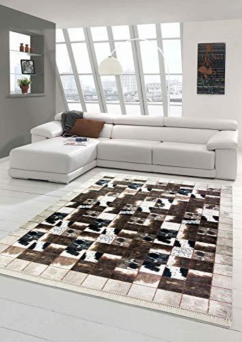 Merinos Patchwork de Tapis en Peau de Vache Brun crème Noir Größe 120x160 cm