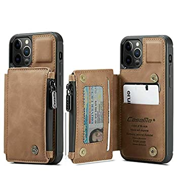for iPhone 12 Pro Max Case Leather Zipper Wallet Card Holder Magnet Flip Cover Case Wallet with Card Holder for iPhone 12 Wallet Case Credit Card Holder  Brown for iPhone12Pro Max