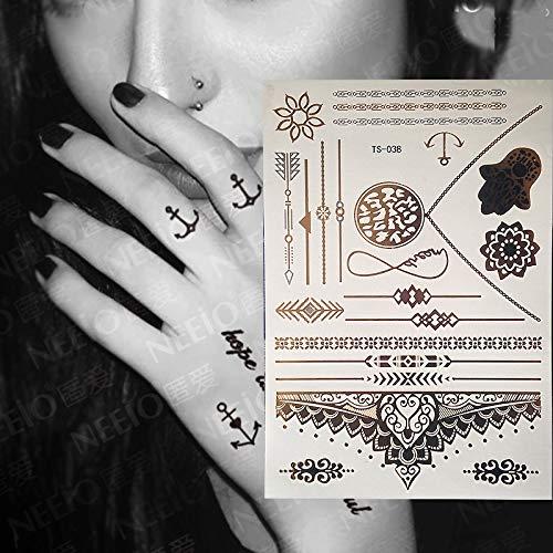 SMXGF Hot Flash Metallic Waterproof tijdelijke tatoeage Goud Zilver Tatoo Vrouwen Bloem van de henna Taty Ontwerp van de Tattoo (Color : TS038)