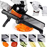 Adjustable Mandoline Food Slicer by Harcas. Best for Slicing and Cutting Potatoes, Cucumbers, and Most Fruit and Vegetables. Cut Proof Gloves and Cleaning Brush Included