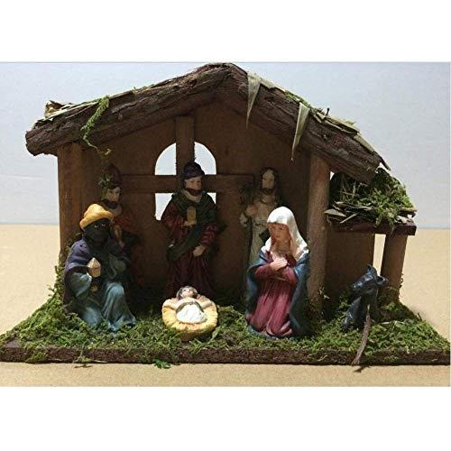 LGR Exquisita Natividad de Navidad en Miniatura de 7 Piezas en el Pesebre Juego de Escena Decoración Adorno Estatuilla Artesanía Hecha a Mano 24X8X16 cm Figura Estatua