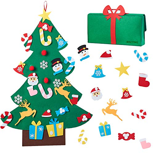 MACTING 3ft DIY Felt Christmas Tree Set, 26pcs Detachable Ornaments with Gift Bag for Kids Xmas Gifts Wall Hanging New Year Door Decorations