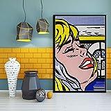 zxddzl Pop Art Roy Lichtenstein Art Pintura Seda Lienzo Cartel de Pared...