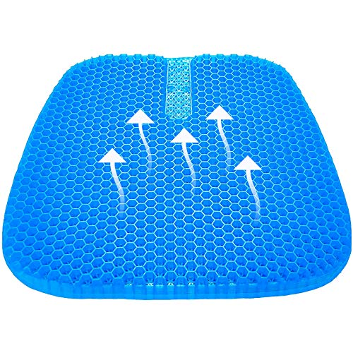 Tomight Gel Seat Cushion, Cool Gel Cushion, Breathable Lumbar Support Chair Cushion Chair Pad with Non-Slip Cover for Car/Office/Home/Wheelchair