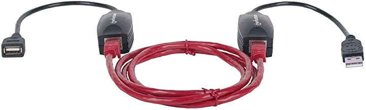 MANHATTAN Local Unit, USB A-Type Male and RJ45 Female, Remote Unit, USB A-Type Female and RJ45 Female USB Line Extender (179300) (179300)