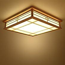 LYXG Japanse plafondlamp LED lampen massief hout tatami licht lampen Japanse woonkamer licht (350mm * 350mm * 120mm) slaap...