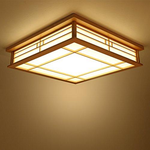LYXG Luz de techo japonés madera maciza lámparas LED Lámparas de luz de tatami japonés salón luminoso (350mm*350mm*120mm) dormitorio balcón logs
