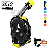 OUSPT Full Face Snorkel Mask, Snorkeling Mask with Detachable Camera Mount, Panoramic 205° View Upgraded Dive Mask with Safety Breathing System, Dry Top Set Anti-Fog Anti-Leak