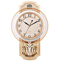 WJXBoos Westminster Chimes Pendulum Clock, Silent Wall Clock with Swinging Pendulum Four aa Battery Operated Home Decorative Clock-A 16 inch (40.5 cm)