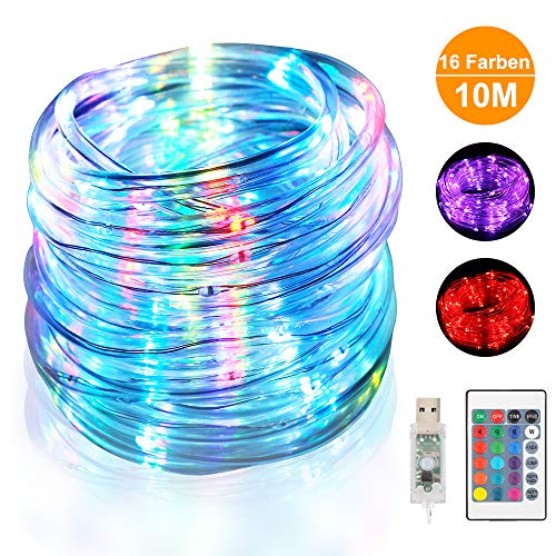 LED Schlauch RGB Außen 10M 100 LED mit USB Wasserdicht Lichtschlauch 16 Farben 4 Modi mit Fernbedienung & Timer für Innen Outdoor Weihnachten Party Balkon Hochzeit Geburtstag Deko