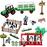 Liberty Imports Pretend Play Dairy Farming Toys Set with Farm Animals, Farmers, Figures and Accessories for Kids (23 Pieces)