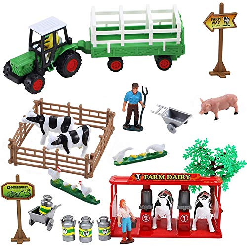 Pretend Play Dairy Farming Toys Set with Farm Animals  Farmers  Figures and Accessories for Kids (23 Pieces)