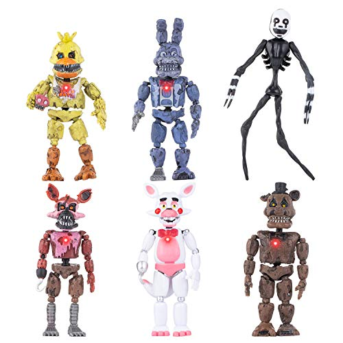 Inspired by Five Nights at Freddy's | Set of 6 pcs | FNAF Action Figures Toy Set | Action Figures Toys Dolls | Xmas Gifts Cake Toppers | Christmas Toys Gifts | 6 inches