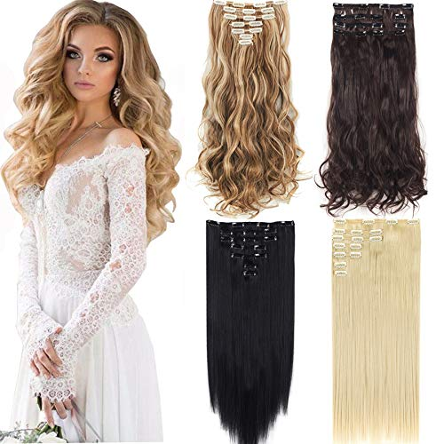 SLLIE 7Pcs 16 Clips Curly Straight Double Weft Clip in Hair Extension Thick Synthetic Hair Extensions Hairpieces