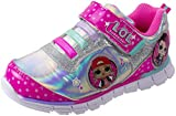 L.O.L. Surprise! Girls Sneakers, Light Up Tennis Shoe with Strap, MC Swag and Rocker, Pink, Girls Size 12