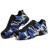 Zapatillas De Punta De Acero De Camuflaje Zapatillas De Trabajo De Zapatillas De Seguridad Puntura - Zapatos De Seguridad A Prueba De Pinchazos Hombres Construcción De Zapatos Indu(Size:37,Color:azul)