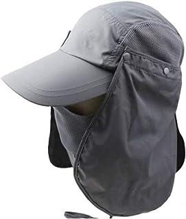 3CERA Outdoor 360 UV protection Sun block hat Folding visor fishing Nylon Cap hiking (grey)