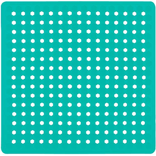 Gorilla Grip Patented Shower Stall Mat, 21x21 Bath Tub Mats, Washable, Square Bathroom Mats for Showers with Drain Holes, Suction Cups, Turquoise Opaque