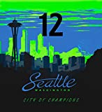 Seattle City of Champions 12th Man Royal Plush Raschel Reversible King Size Blanket - 84 x 95 Inches