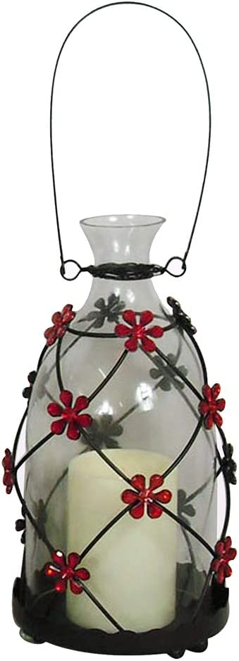 glitzhome Animer and price revision LED Glass Candle Hanging Lantern Ranking TOP6 Decorativ Red Flower