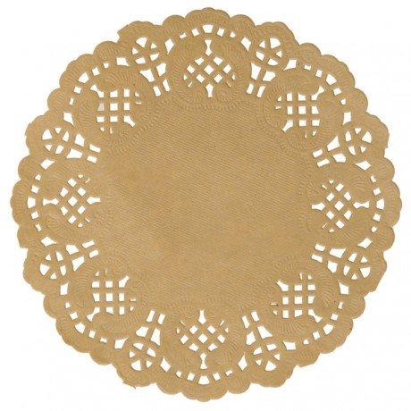 10 Stück Tortenspitzen/Spitzendeckchen aus Papier in braun - Vintage Stil - Durchmesser 10cm