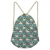 Upetstory Fun Pug Dog Floral Print Drawstring Backpack Shoulder Bags Lightweight Gym Bag Sackpack for Women Girls
