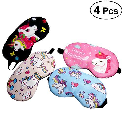 Frcolor 4st slaapmasker ogen afdekking eenhoorn oogmasker oogmasker slapen oogflap voor kinderen (zwart + roze rood + roze + blauw)