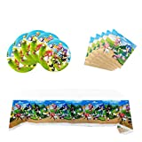 Hedgehog Party for Sonic, 20 Plates + 20 Napkins + Tablecloth, Hedgehog Party Supplies