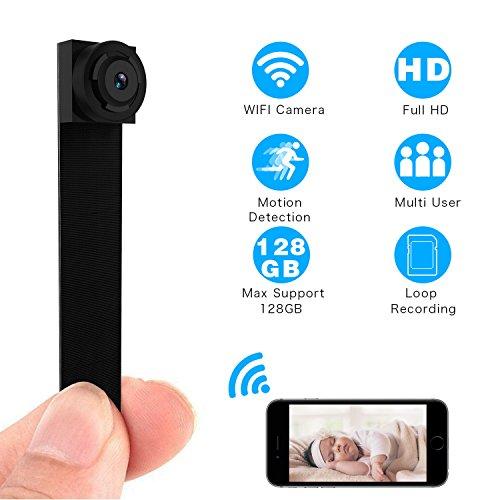 YOUKUKE cámara espía Oculta WiFi 1080P, Mini cámara de Seguridad inalámbrica portátil con detección de Movimiento y Alarma para el hogar, para iPhone, Android, teléfono, iPad, PC