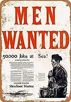 男性募集商船ブリキサイン壁の装飾金属ポスターレトロプラーク警告サインオフィスカフェクラブバーの工芸品