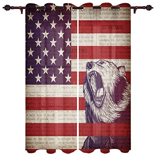 """Draperies & Curtains Panels for Living Room Bedroom Retro Independence Day USA Flag Bear Window Curtains for Home Kitchen - Set of 2 Panels, 80"""" W by 84"""" L"""