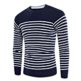 ZZOU Men's Long Sleeve Striped Jumpers Crewneck Autumn Winter Pullover Sweater Fashion Knit Sweater Top Pull in Soft Quality Vest Runner Retro Vintage Work Casual Hoody Sweatshirt Basic Wool Blend