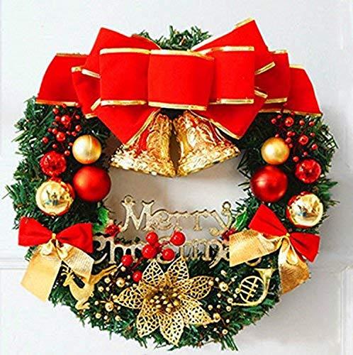 Cxssxling Guirnalda de Navidad Decoración Guirnalda Campana Puerta Artificial Navidad Decoración con Corona, Decoración de Navidad para Chimenea Marco de Ventana (Tradicional)